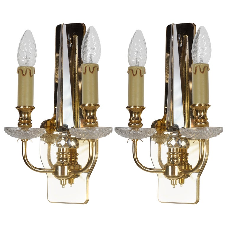 Pair of Brass and Crystal Wall Lights For Sale