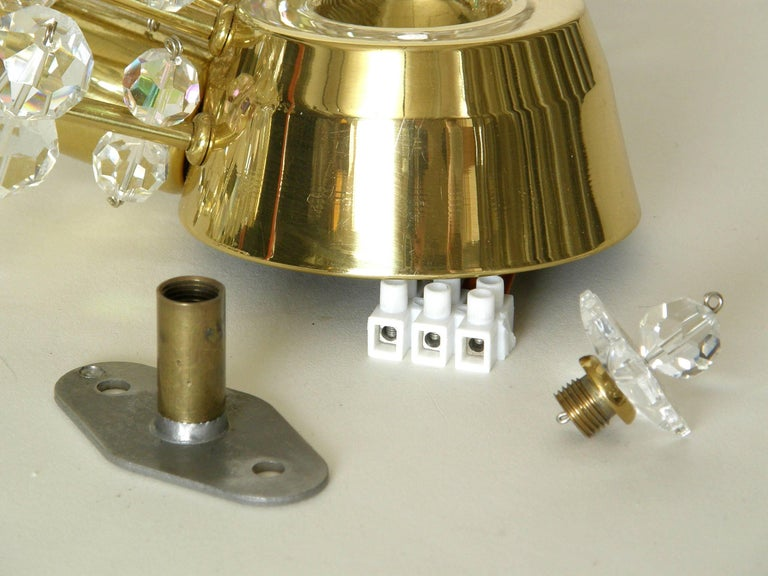 Pair of Brass and Cut Crystal Sputnik Wall Sconces For Sale 3