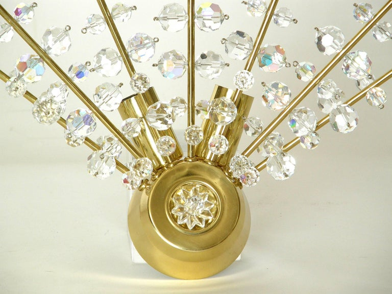 Faceted Pair of Brass and Cut Crystal Sputnik Wall Sconces For Sale