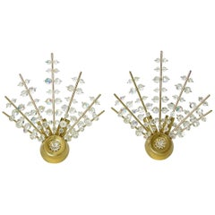 Pair of Brass and Cut Crystal Sputnik Wall Sconces