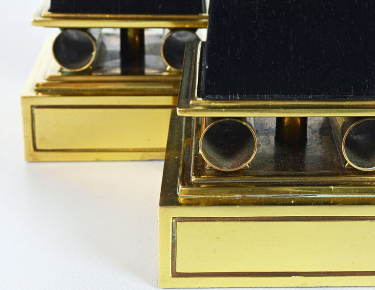 Pair of Brass and Ebonized Wood Obelisk Lamps by Tommi Parzinger for Stiffel For Sale 7