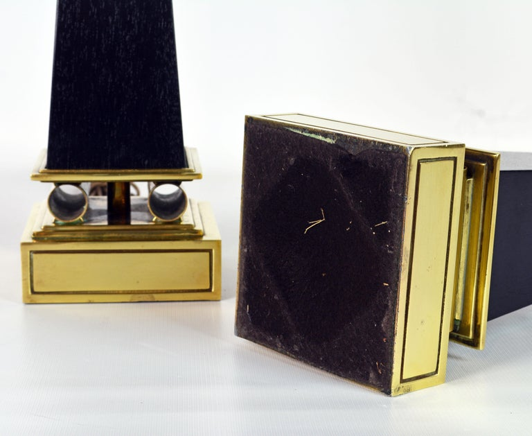 Pair of Brass and Ebonized Wood Obelisk Lamps by Tommi Parzinger for Stiffel For Sale 8