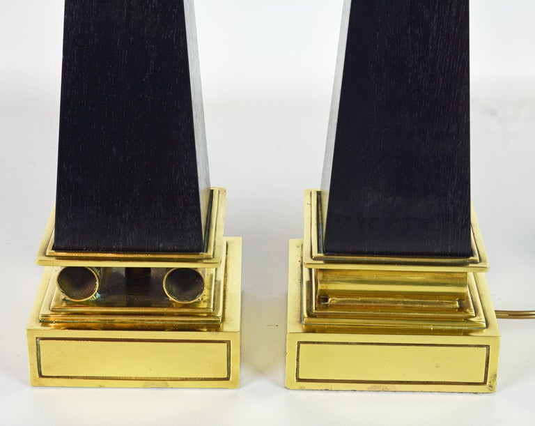 Pair of Brass and Ebonized Wood Obelisk Lamps by Tommi Parzinger for Stiffel For Sale 2