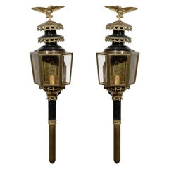 Pair of English 1890s Georgian Style Brass and Enamel Coach Lanterns with Eagles