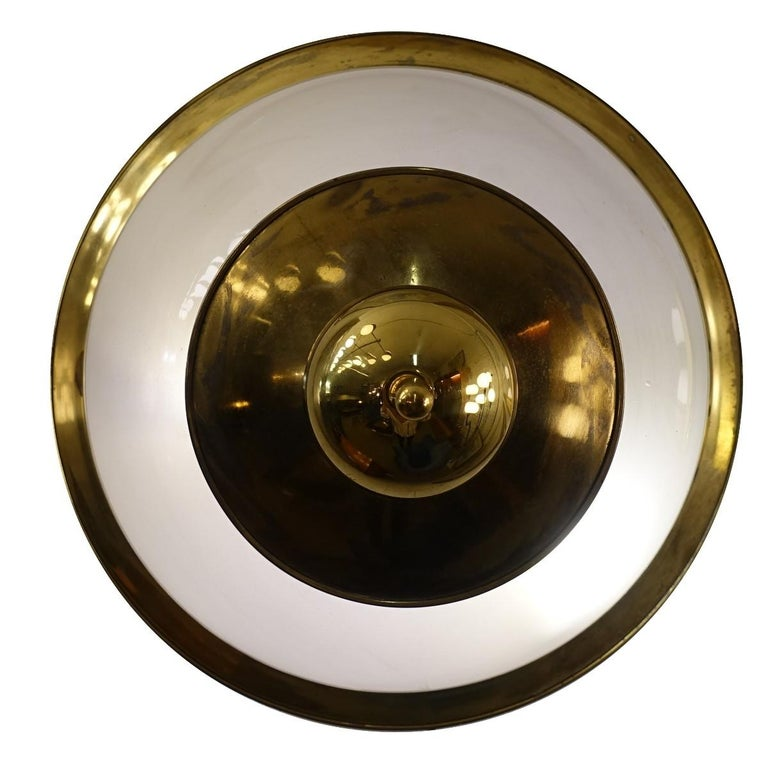 Mid-Century Modern Pair of Brass and Frosted Glass Lamps by Luigi Caccia Dominioni for Azucena For Sale
