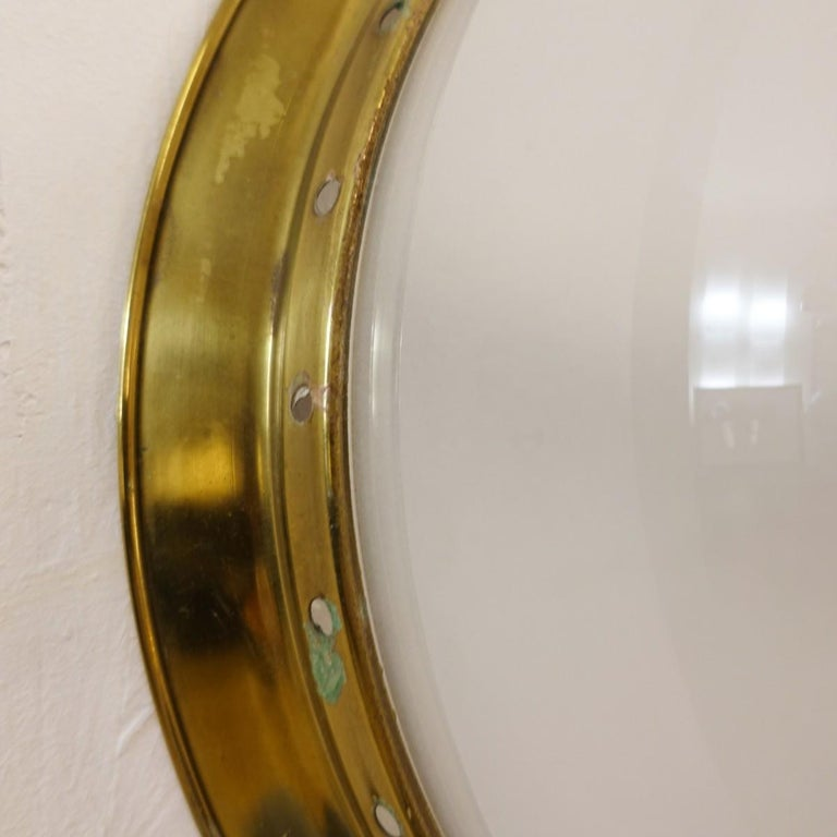 Pair of Brass and Frosted Glass Lamps by Luigi Caccia Dominioni for Azucena In Good Condition For Sale In Brussels, BE