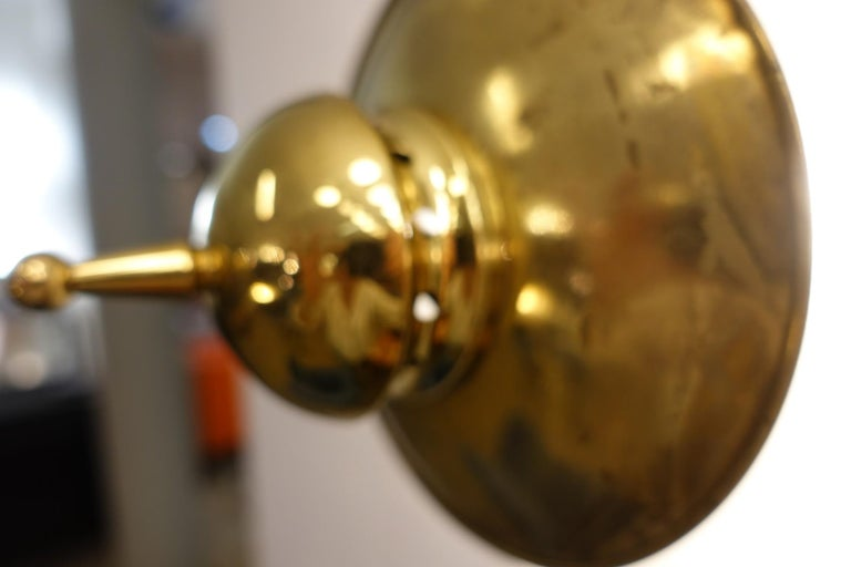 Mid-20th Century Pair of Brass and Frosted Glass Lamps by Luigi Caccia Dominioni for Azucena For Sale