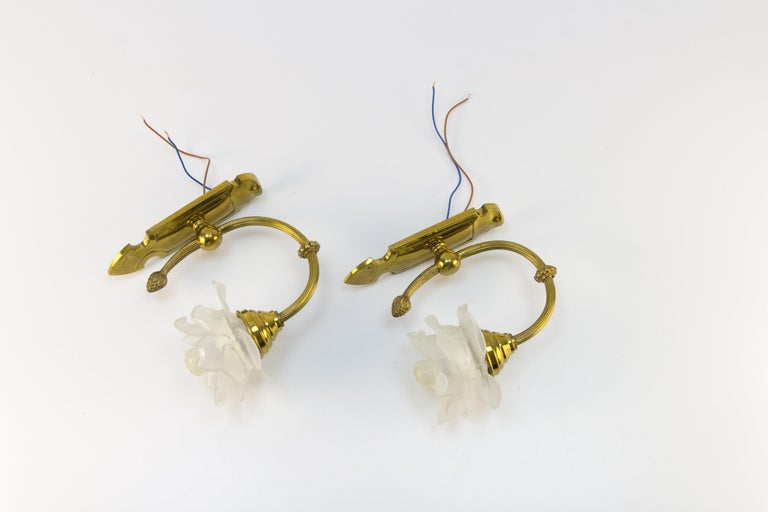 Pair of Brass and Frosted Glass Sconces For Sale 5