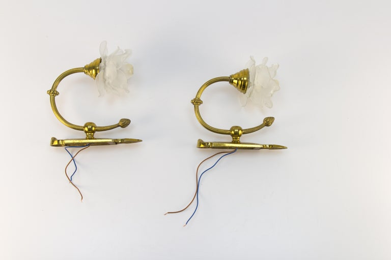 Pair of Brass and Frosted Glass Sconces For Sale 10