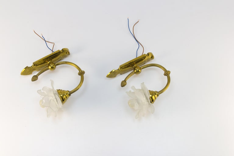 Pair of Brass and Frosted Glass Sconces For Sale 12