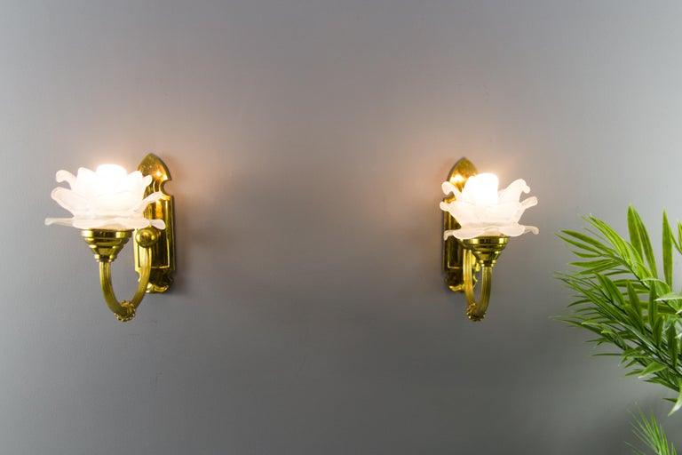 Art Nouveau Pair of Brass and Frosted Glass Sconces For Sale