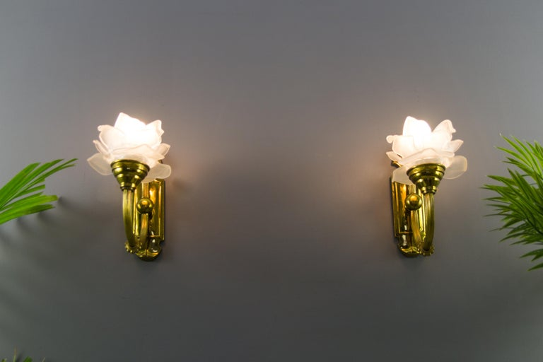 French Pair of Brass and Frosted Glass Sconces For Sale