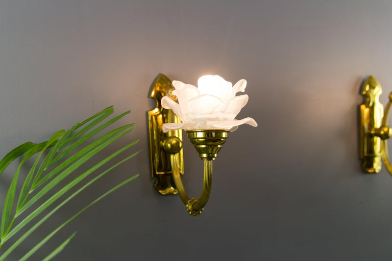Pair of Brass and Frosted Glass Sconces In Good Condition For Sale In Barntrup, DE