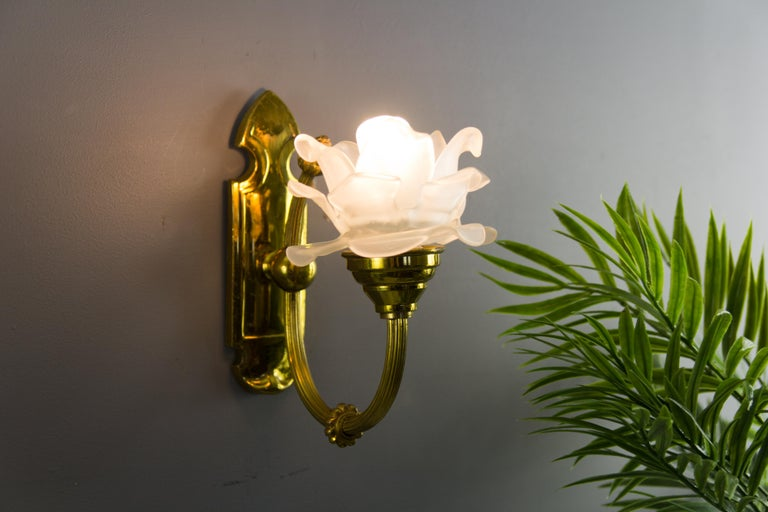 20th Century Pair of Brass and Frosted Glass Sconces For Sale