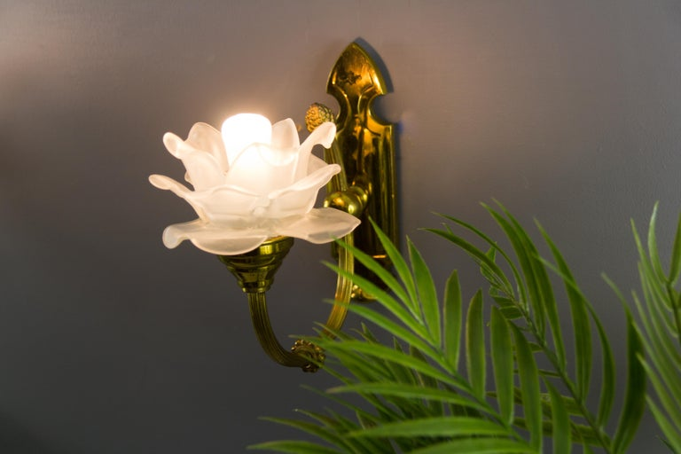 Pair of Brass and Frosted Glass Sconces For Sale 1