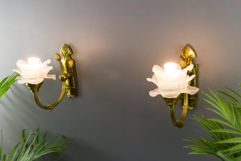 Pair of Brass and Frosted Glass Sconces For Sale 2