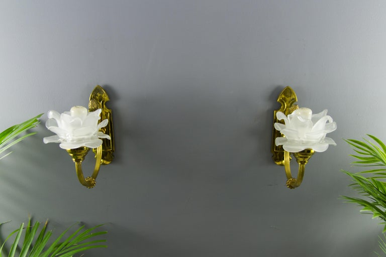 Pair of Brass and Frosted Glass Sconces For Sale 3