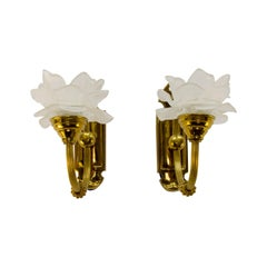 Pair of Brass and Frosted Glass Sconces