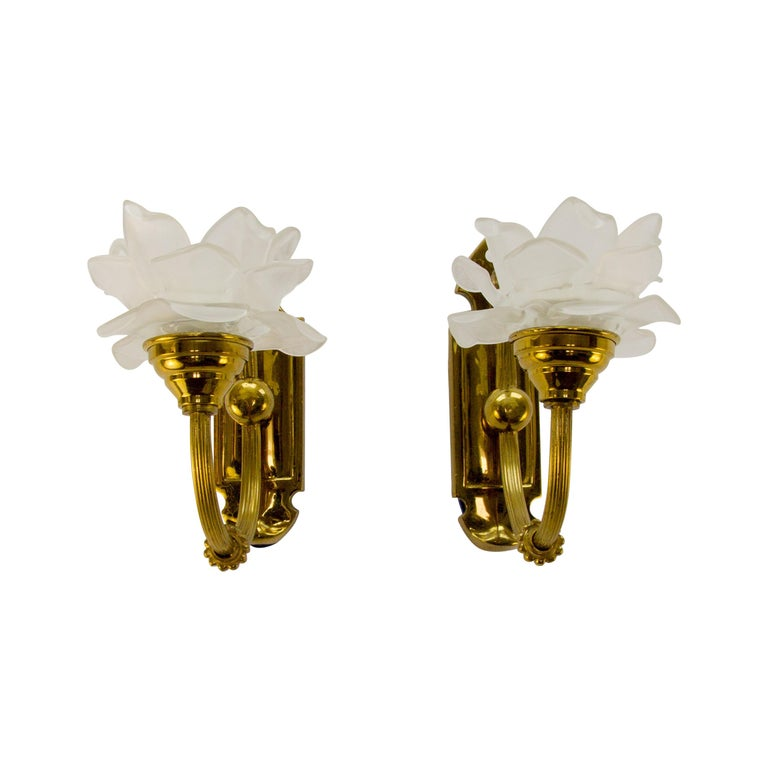 Pair of Brass and Frosted Glass Sconces For Sale