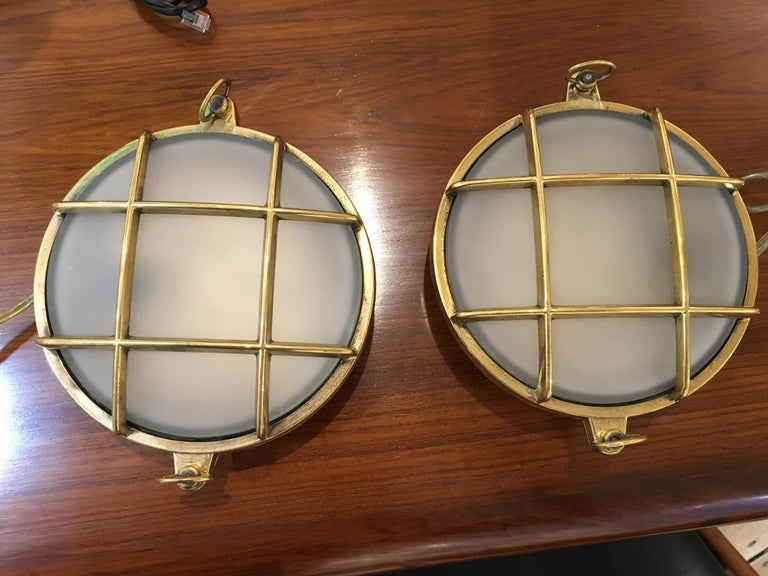 Pair of Nautical Brass and Frosted Glass Ship's Passageway Lights In Good Condition For Sale In Nantucket, MA