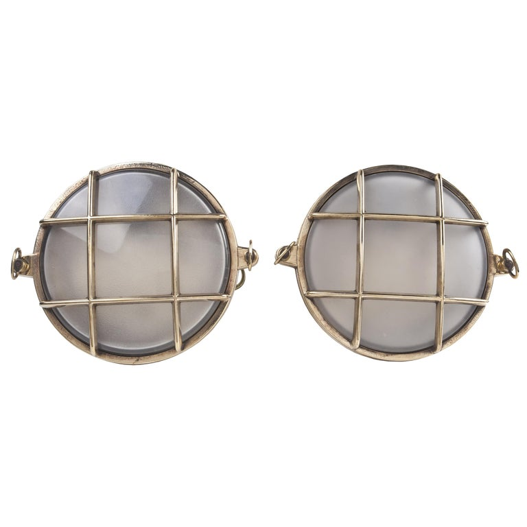 Pair of Nautical Brass and Frosted Glass Ship's Passageway Lights For Sale
