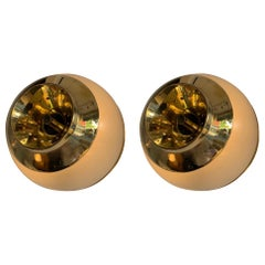 Pair of Brass and Glass Azucena Sconces by Luigi Caccia Dominioni, Italy, 1970s