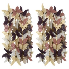 Pair of Brass and Glass Butterfly Sconces with Gold Inclusion