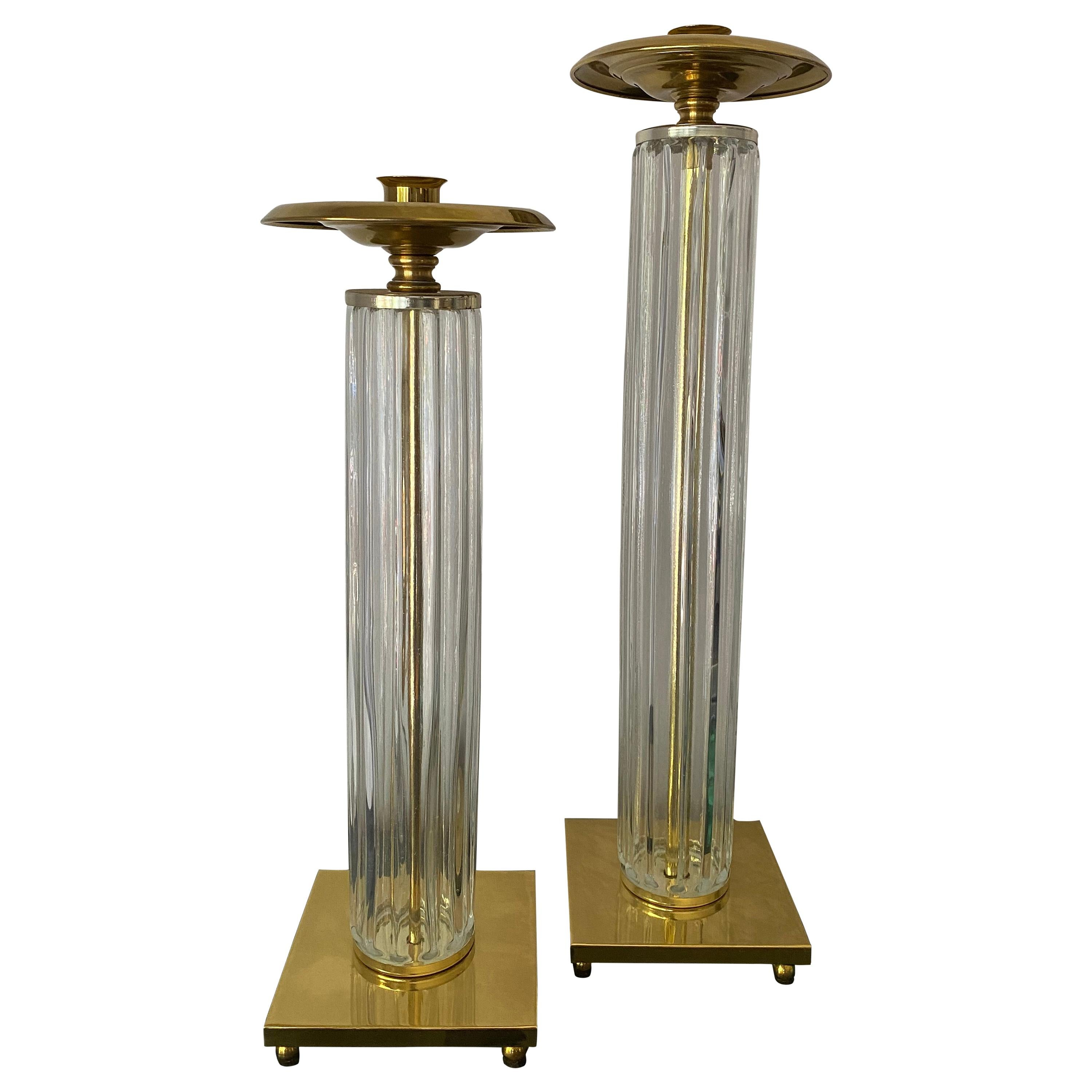 Pair of Brass and Glass Candleholders