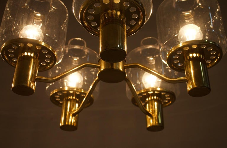 One of Two Brass and Glass Chandelier Pendant by Hans-Agne Jakobsson Sweden 1960 For Sale 4
