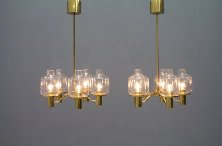 One of Two Brass and Glass Chandelier Pendant by Hans-Agne Jakobsson Sweden 1960 For Sale 7