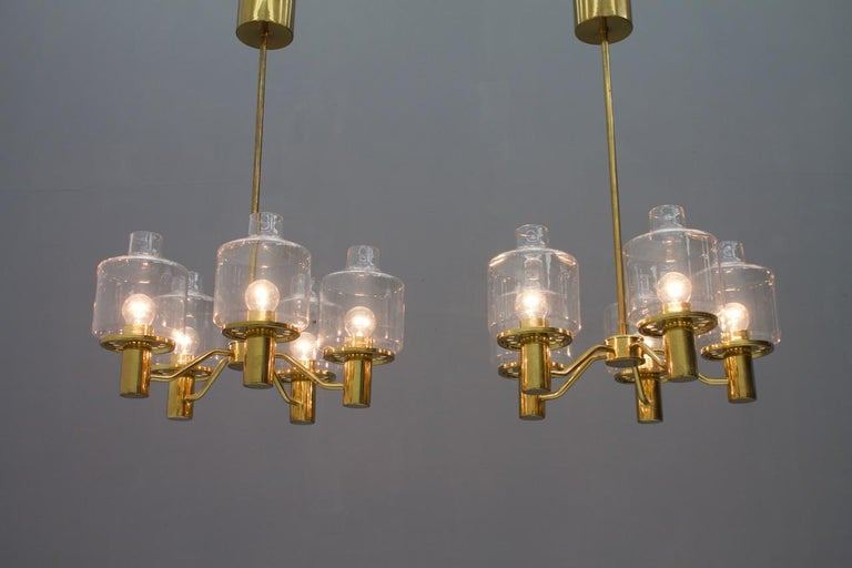 One of Two Brass and Glass Chandelier Pendant by Hans-Agne Jakobsson Sweden 1960 For Sale 8