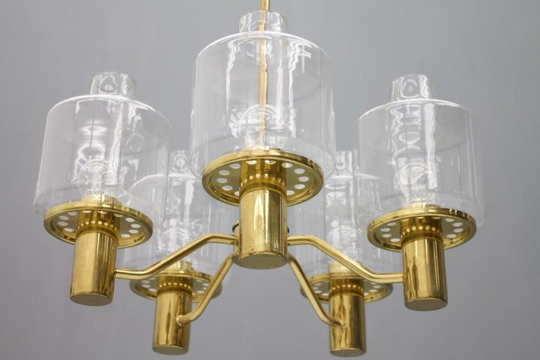 Scandinavian Modern One of Two Brass and Glass Chandelier Pendant by Hans-Agne Jakobsson Sweden 1960 For Sale