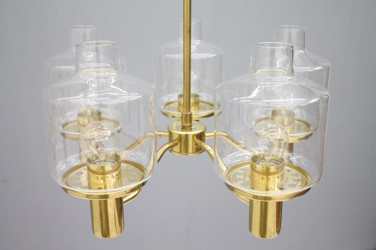 One of Two Brass and Glass Chandelier Pendant by Hans-Agne Jakobsson Sweden 1960 In Good Condition For Sale In Frankfurt / Dreieich, DE