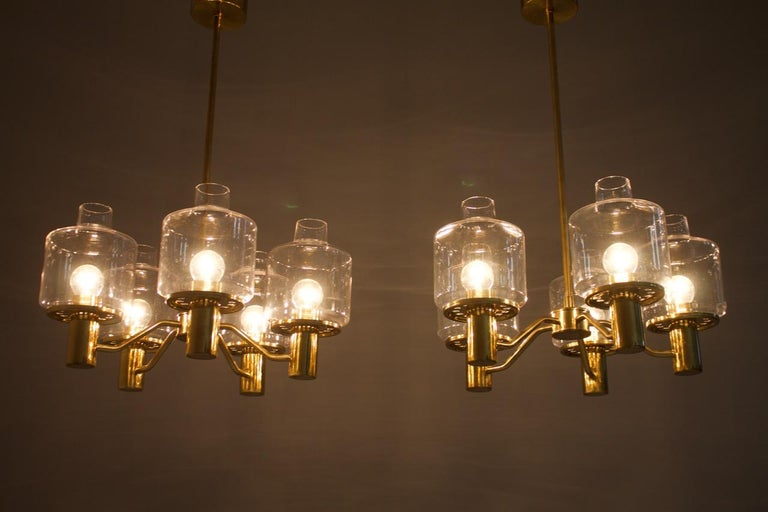 One of Two Brass and Glass Chandelier Pendant by Hans-Agne Jakobsson Sweden 1960 For Sale 3