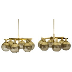Pair of Brass and Glass Chandeliers by Hans-Agne Jakobsson