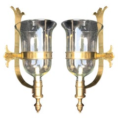 Pair of Brass and Glass Chapman Hurricane Sconces, circa 1970s