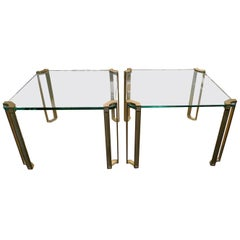 Pair of Brass and Glass End Tables by Peter Ghyczy