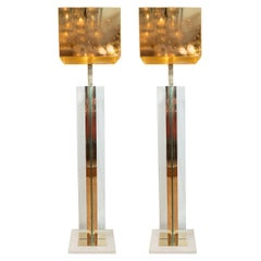 Pair of Brass and Glass Floor Lamps