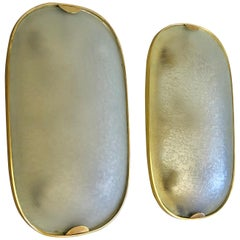 Pair of Brass and Glass Flush Mounts / Sconces by Max Ingrand for Fontana Arte