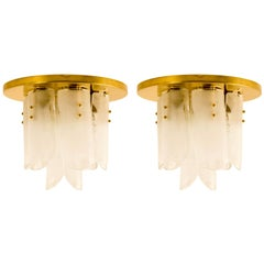Pair of Brass and Glass Flushmounts by J.T. Kalmar, 1960