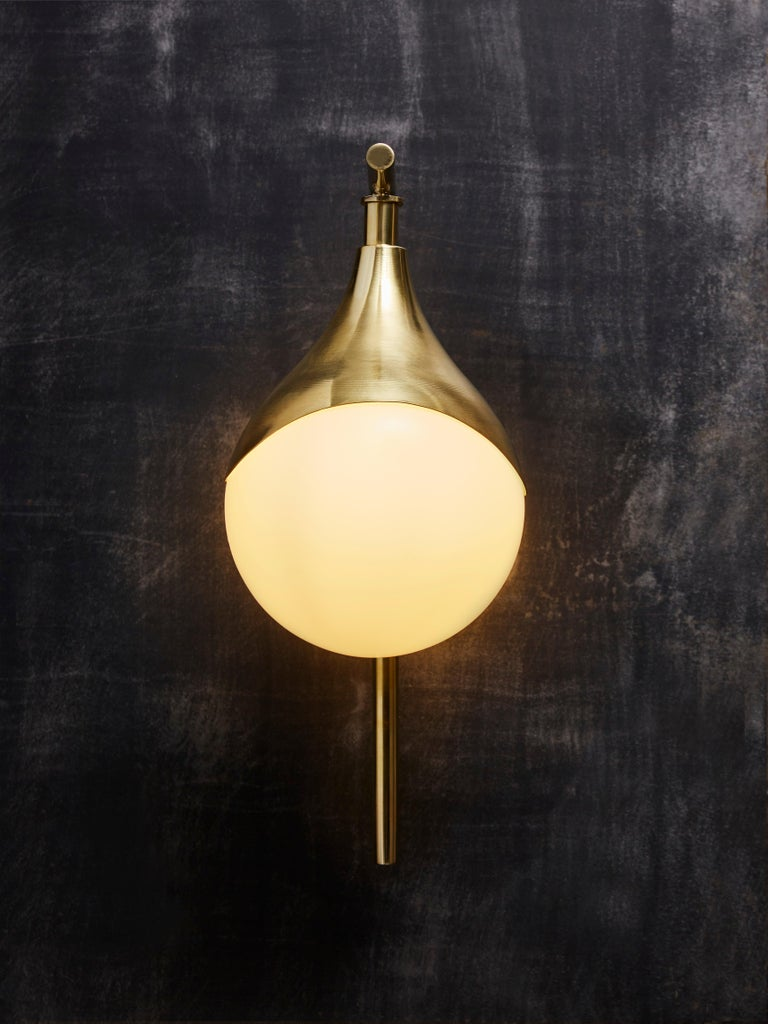 Italian Pair of Brass and Glass Globe Wall Sconces For Sale