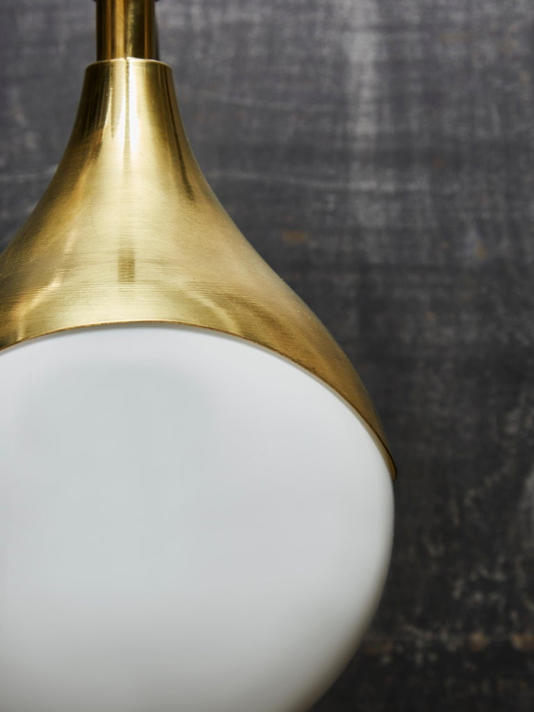 Contemporary Pair of Brass and Glass Globe Wall Sconces For Sale