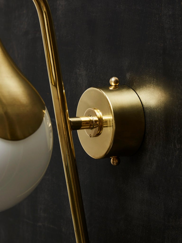 Pair of Brass and Glass Globe Wall Sconces For Sale 1