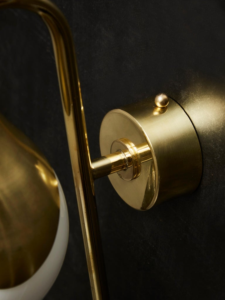 Pair of Brass and Glass Globe Wall Sconces For Sale 2