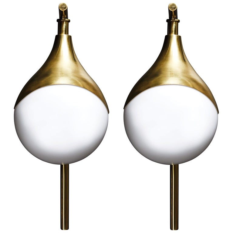Pair of Brass and Glass Globe Wall Sconces For Sale