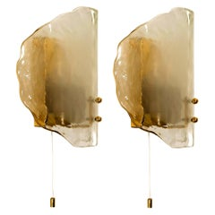 Pair of Brass and Glass Hand Blown Murano Glass Wall Lights by J.T. Kalmar 1960s