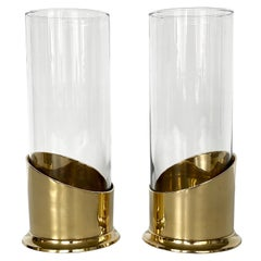 Pair of Brass and Glass Hurricane Candleholders / Vases