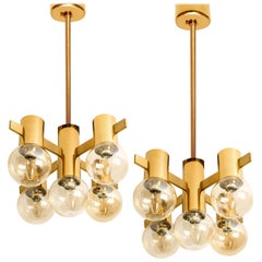 Pair of Brass and Glass Light Fixtures in the Style of Jacobsson, 1960s
