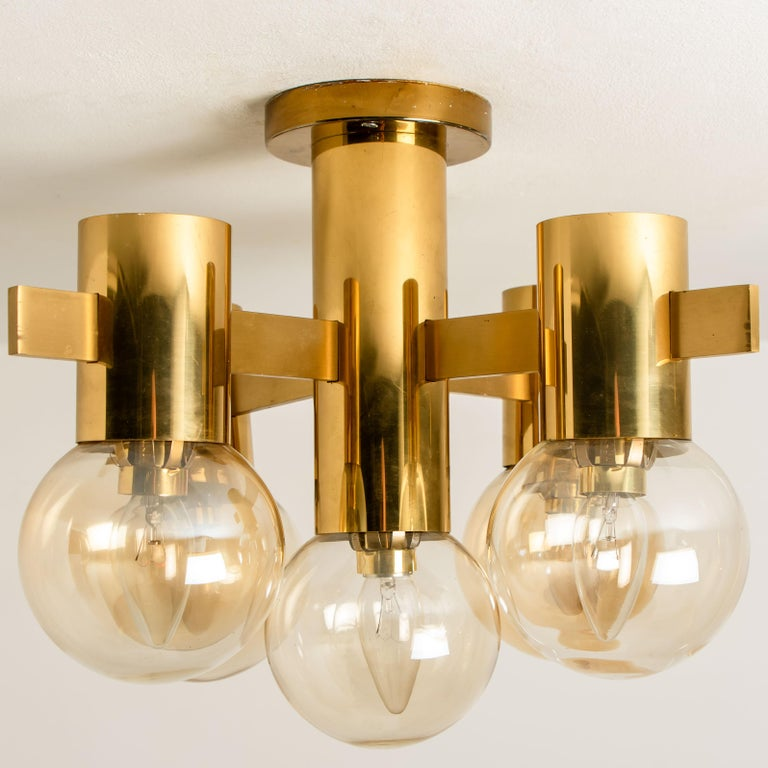 Pair of Brass and Glass Light Fixtures in the Style of Jakobsson, 1960s For Sale 3