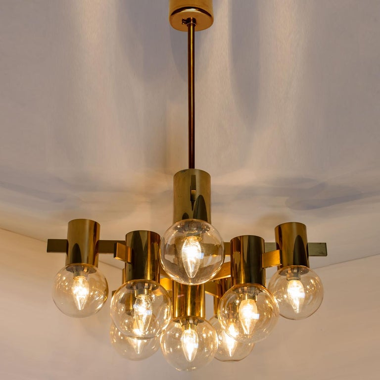 Pair of Brass and Glass Light Fixtures in the Style of Jakobsson, 1960s For Sale 4